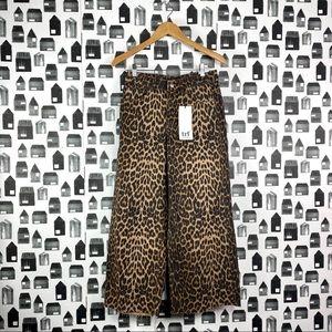 Zara | NWT Leopard Culottes Denim Jeans